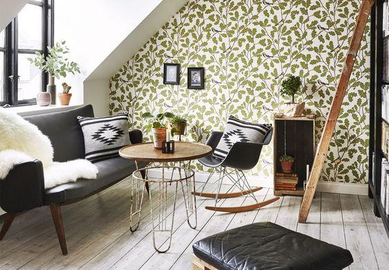 Livingroom decor - wall paper - nature decor