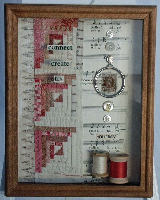 Great way to display old quilt patches and a few memories/old threads/antiques