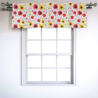 East Urban Home Watercolor Flowers 54 Window Valance In 2020