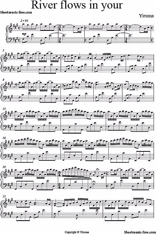 River Flows In You Sheet Music Yiruma Piano Sheet Music Free Pdf