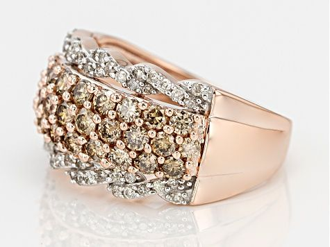 Champagne And White Diamond 10k Rose Gold Ring 1 75ctw Kdg101 Rose Gold Band Ring Rose Gold Ring Gold Rings