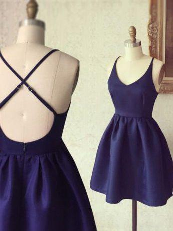 Simple A-line Short Navy Homecoming Dress [1001288] - $84.99 : modseley.com
