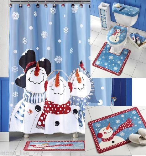 New Bath Set Snowman Fabric Shower Curtain Christmas Holiday Frosty Bathroom Bathroom