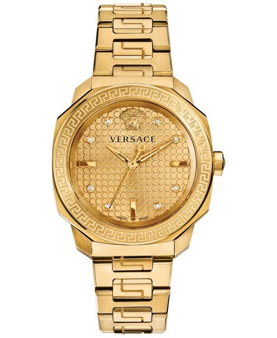 Versace Women's Swiss Dylos Diamond Accent Gold Ion-Plated Stainless Steel Bracelet watch 35mm VQD060015