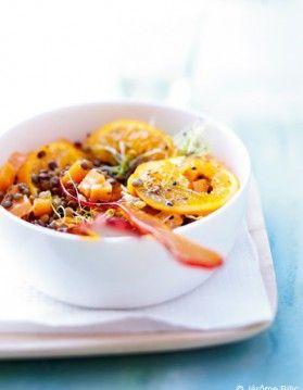 Lentilles tièdes et oranges