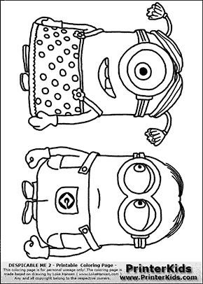 Despicable Me 2 Minion 8 Two Minions Standing Coloring Page