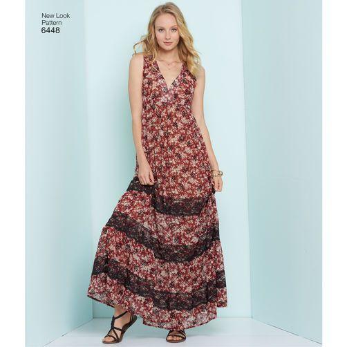 New Look Pattern 6448 Misses' Easy V-Neck Dresses