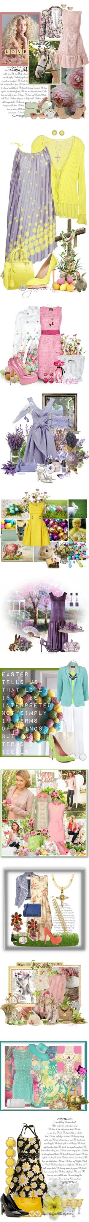"""""""Easter Fashion Sets"""" by lindaweldon ❤ liked on Polyvore"""
