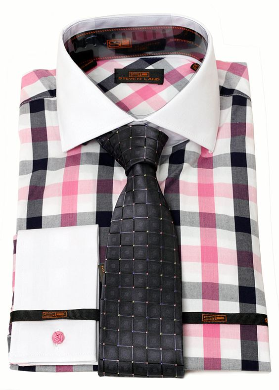Check dress pink black and dress shirts on pinterest for Pink shirt tie combo