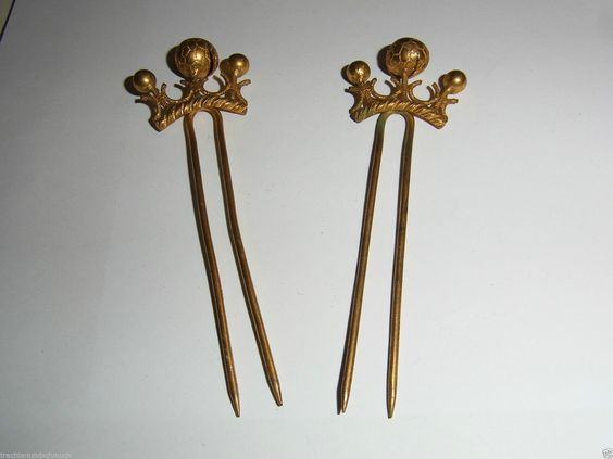 Tracht 2 antike Haar Nadeln Trachtenschmuck feuervergoldet Krone | eBay