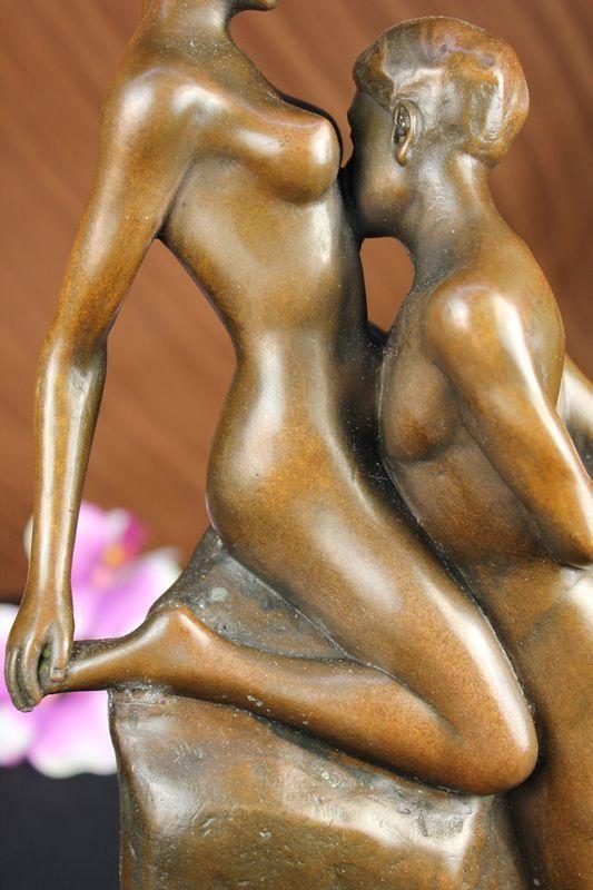 Bronze fountain nude girl with birds