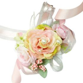 .: My Marriage, Pale Pink, Wedding Flowers, Silk Rose, Pink Silk, Bridal Wrist, Chiffon Decoration, Elegant Pale