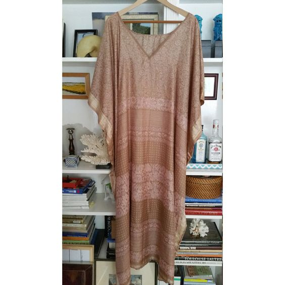 Silk Caftan Resort Boho Dress Vintage Kaftan Travel Wear Hostess Gown... ($170) ❤ liked on Polyvore featuring swimwear, cover-ups, kaftan cover up, caftan swim cover up, cover up swimwear, caftan cover up and bohemian swimwear