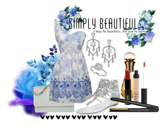"""""""Blue Fairy"""" by amyr1 ❤ liked on Polyvore featuring René Caovilla, Christian Dior, Oscar de la Renta, DKNY, Effy Jewelry, Lord & Berry, NARS Cosmetics and GHD"""