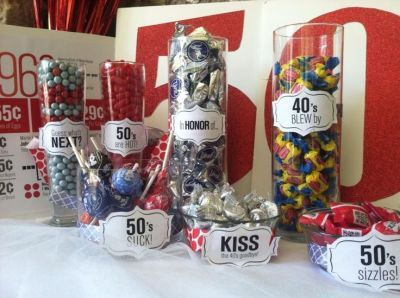 Candy buffet for 50th birthday party decorations.  See more decorations and 50th birthday party ideas at www.one-stop-party-ideas.com