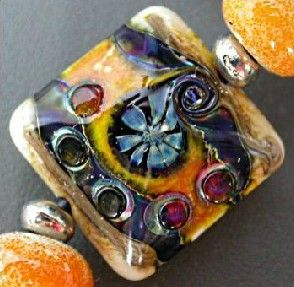 Square Glass Bead by the Bead Fairy's Lampwork
