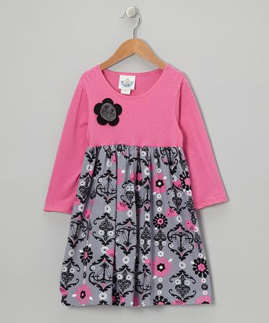Take a look at this Pink & Gray Chandelier Babydoll Dress - Infant, Toddler & Girls by Corky's Kids on #zulily today!