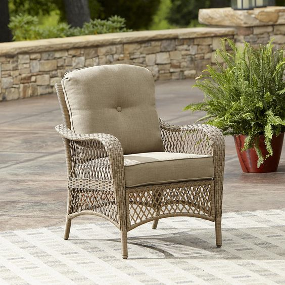 Wicker Lounge Chair Chat Stool Deep Seat Cushions Sand Resin Patio Furniture New #GrandHarbor