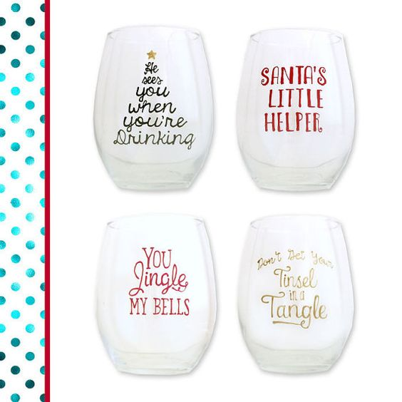 The Prettiest Painted Christmas Wine Glass Set!