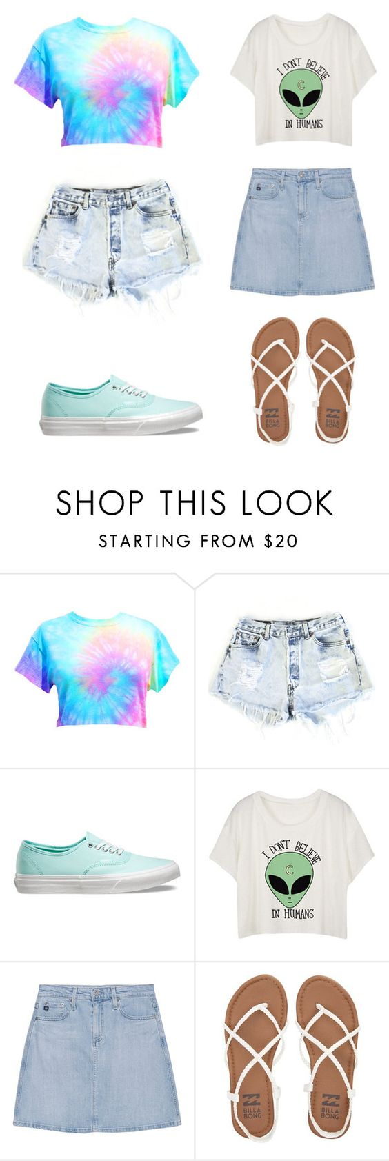 """Untitled #250"" by puplove905 on Polyvore featuring Levi's, Vans, AG Adriano Goldschmied and Billabong"