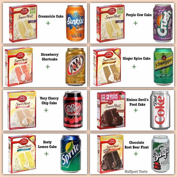 Cake mix + soda = cake. No water,egg, oil, etc, just cake mix and soda.