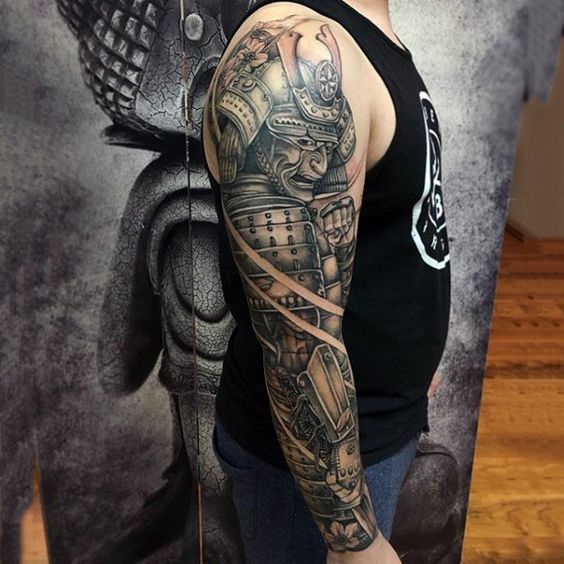 Man With Samurai In Full Armor Full Sleeve Shaded Tattoo ...