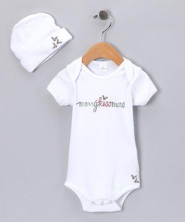 Take a look at this White 'Merry Kissmas' Bodysuit & Beanie by Truffles Ruffles on #zulily today!