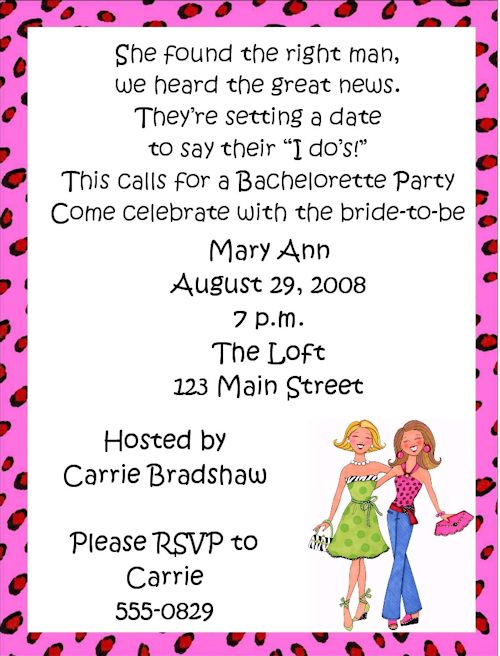 Girls Night Invitation Wording Bachelorette Party