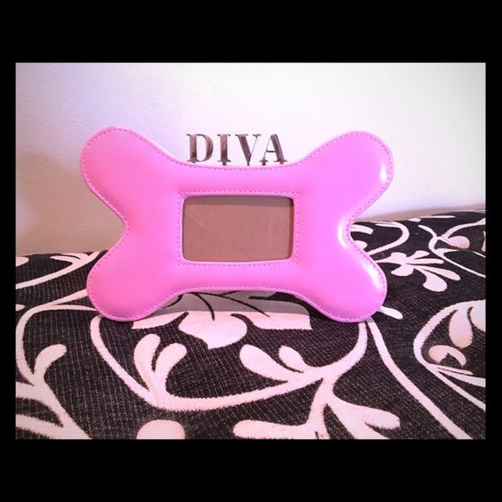 Diva Pink Leather Dog Bone Picture Frame Lder Hftigt Och Rosa