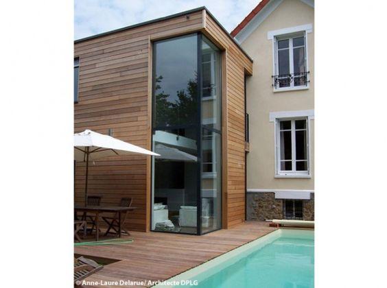 Extension en bois maison sur deux etages maisons et - Extension maison design ...