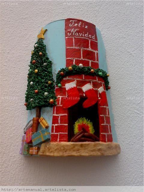 Teja chimenea de navidad tejas decoradas pinterest - Chimeneas decoradas ...