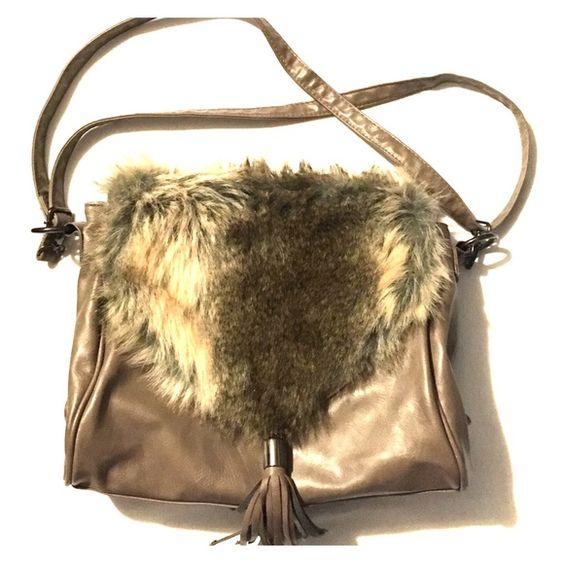 "Faux Fur Aldo side Bag 12"" across / 9""L / 5""W Aldo side bag /lots of pockets/adjustable strap ALDO Bags Crossbody Bags"