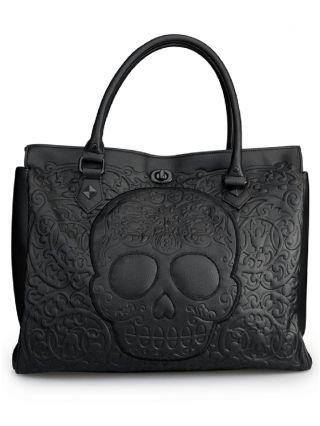 """Black on Black Skull Lattice"" Tote Handbag by Loungefly (Black)"
