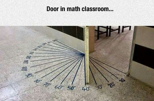 Math classroom door shows degrees of angles.