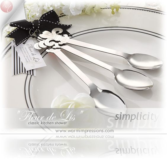 """Fleur de Lis"" Stainless-Steel Measuring Spoons Favors Gifts - 81% OFF - 13044NA - Cheap Wedding Favors - Cheap Bridal Shower Favors - Cheap Party Favors - http://www.warmimpressions.com/WEDDING_FAVORS/Fleur-de-Lis-Stainless-Steel-Measuring-Spoons-Favors-kate-aspen-13044NA.html"