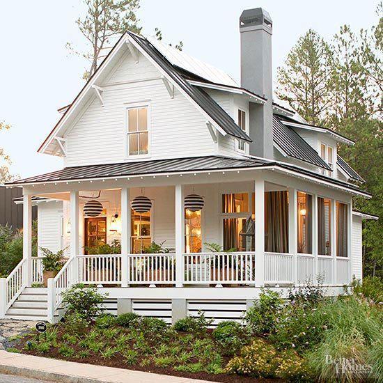 southern style farm house with wrap around porch wraparound