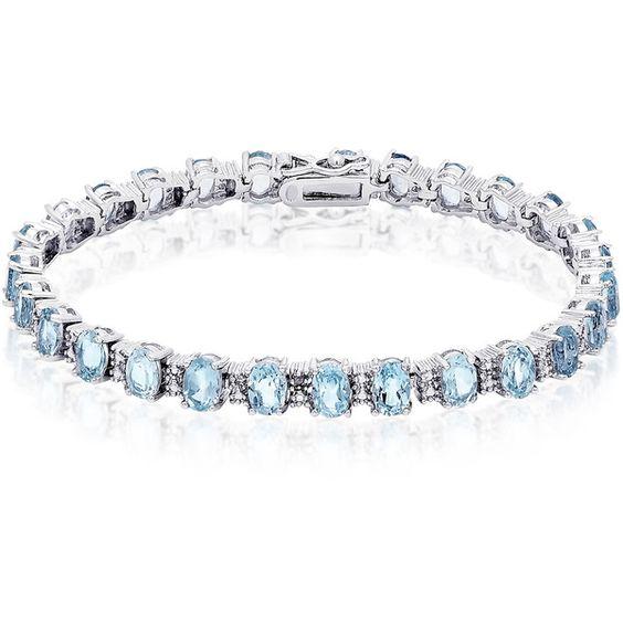 Dolce Giavonna Sterling Silver Multi-gemstone Diamond Accent Bracelet ($70) ❤ liked on Polyvore featuring jewelry, bracelets, blue, sterling silver gemstone jewelry, sterling silver jewelry, blue bangles, diamond accent jewelry and gem jewelry