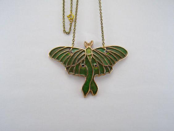 Luna moth pendant made of bronze with enamel by WingsAndStings, $68.00