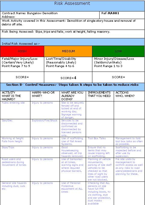 Risk Assessment Example Top Section Risk Analysis Risk Management Strategies Fire Risk Assessment