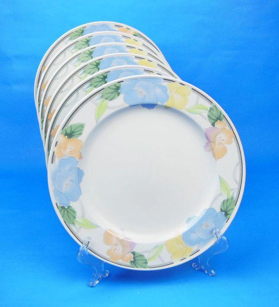 TWO Dinner Plates, MINT & NEAR MINT! Garden Poetry, Mikasa, Intaglio, #CAC08 #Mikasa