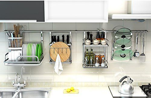 Amazon Com Wall Mount Rail Pot Pan Holder Rack Kitchen Tool Utensil Rack Stainless Steel Geyueya Home 1 Kitchen Rack Design Dish Rack Drying Kitchen Rack