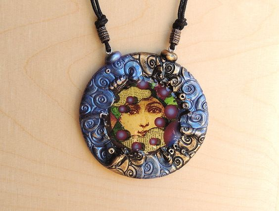 Polymer clay pendant necklace by Montse on Etsy