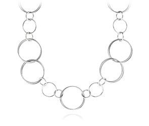 """Circle Link Necklace in Sterling Silver - 32"""" Long"""