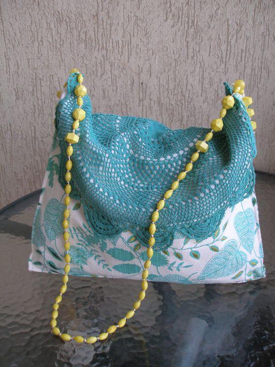 Vintage Crochet /Linen Bag Beaded handle by VvinZONE on Etsy, $29.00