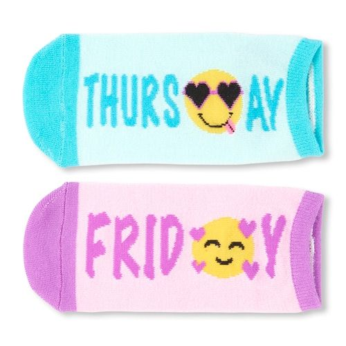 Days Of The Week Socks Girls Days Of The Week Emoji Ankle Socks 7 Pack