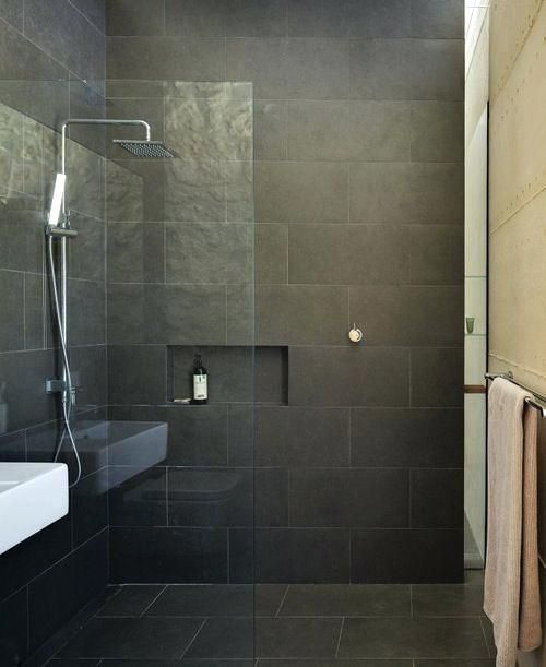 Dark Tile Bathroom Great Dark Tile Bathroom Ideas For Your With Dark Tile Bathroom Ideas Dark Grey Tile Bathroom Ideias Para Casas De Banho Casa De Banho Banho