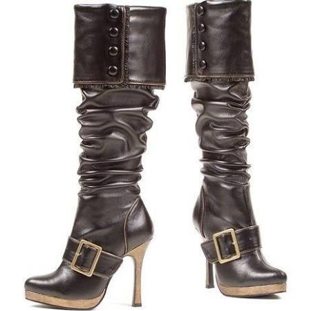 4 inch Heel Knee High Womens Bronze Buckle Brown Pirate Costume Boots