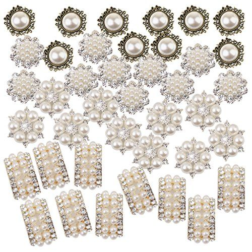 40 Assorted Crystal Flower Buttons Pearl Flatback for Wedding Crafts Decor