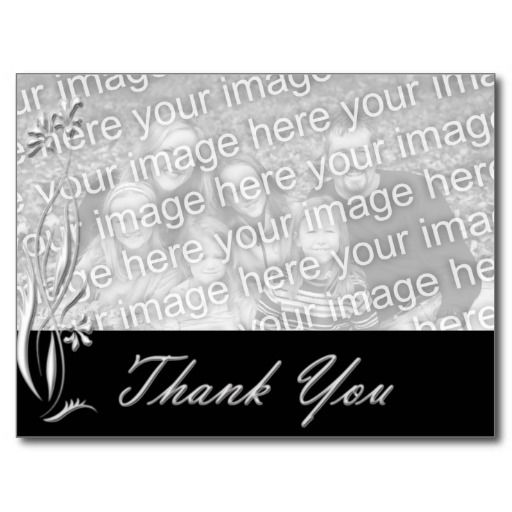 Black Floral Photo Template Thank you Postcard