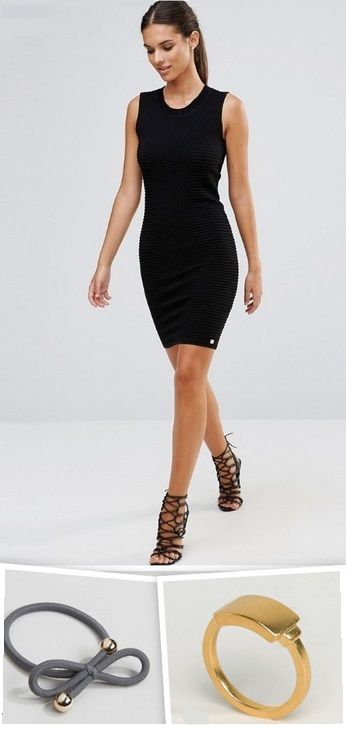 Black sleeveless knitwear dress+black lace up heeled sandals+gold ring+grey and gold hairband. Summer Outfit 2016